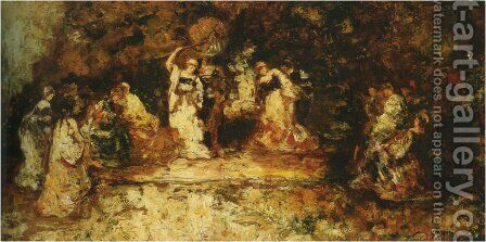 Stage by Adolphe Joseph Thomas Monticelli - Reproduction Oil Painting