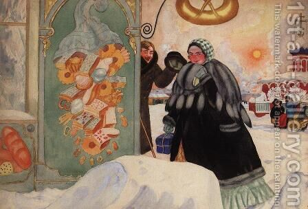 Meeting on the corner by Boris Kustodiev - Reproduction Oil Painting