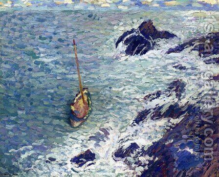Boat near Cliffs by Henri Martin - Reproduction Oil Painting