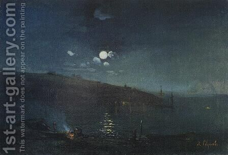 Moonlit night. Landscape with fire by Alexei Kondratyevich Savrasov - Reproduction Oil Painting