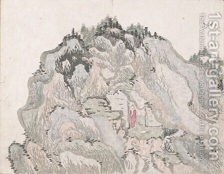 Untitled (a cave halfway up the mountain) by Ike no Taiga - Reproduction Oil Painting