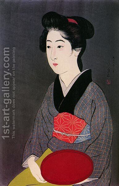 Woman Holding Tray by Goyo Hashiguchi - Reproduction Oil Painting