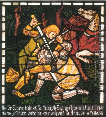 The Fight with Sir Marhalt, from 'The Story of Tristan and Isolde' by Dante Gabriel Rossetti - Reproduction Oil Painting