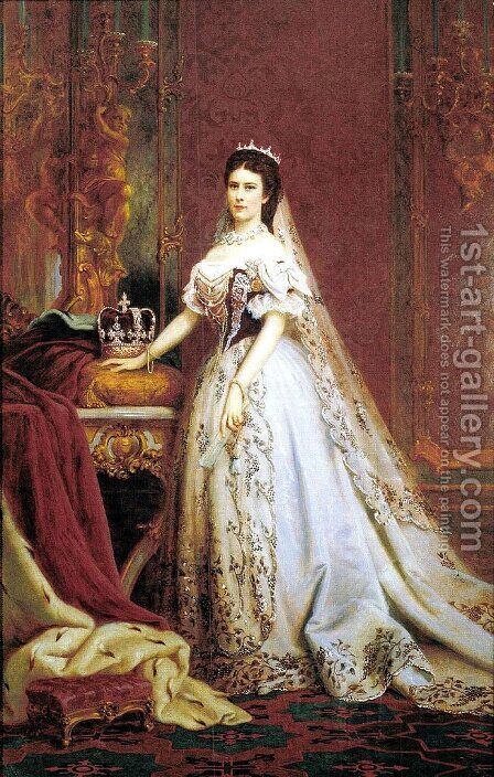 Queen Elisabeth of Hungary and Bohemia by Bertalan Szekely - Reproduction Oil Painting