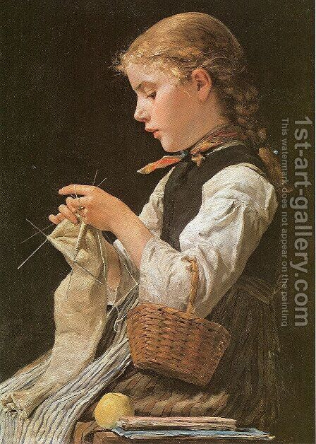Strickendes Madchen by Albert Anker - Reproduction Oil Painting