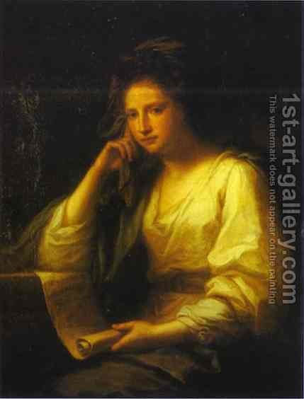 Portrait of a Young Woman as a Sibyl by Angelica Kauffmann - Reproduction Oil Painting