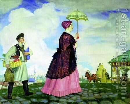 Mercahnt's Wife with Purchases by Boris Kustodiev - Reproduction Oil Painting
