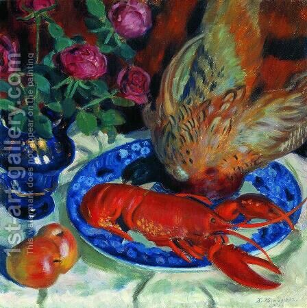 Still Life with Pheasant by Boris Kustodiev - Reproduction Oil Painting