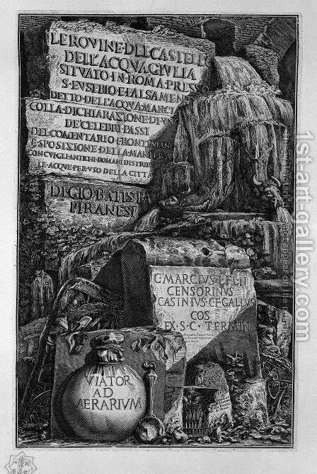 Cover Page. An exhibition of water falls from slabs of marble, and ornaments. by Giovanni Battista Piranesi - Reproduction Oil Painting