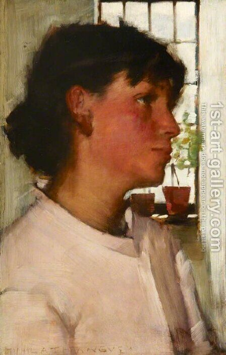 Study of the Bust of a Young Cornishwoman, with a Window behind by Henry Herbert La Thangue - Reproduction Oil Painting