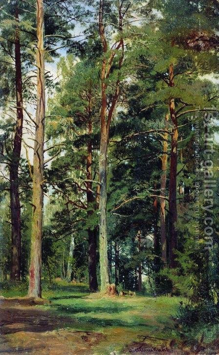 Meadow with pine trees by Ivan Shishkin - Reproduction Oil Painting