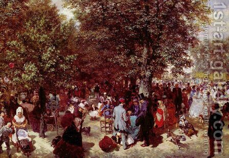 Afternoon in the Tuileries Gardens by Adolph von Menzel - Reproduction Oil Painting