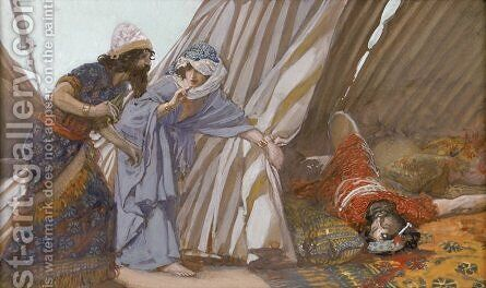 Jael Shows to Barak, Sisera Lying Dead by James Jacques Joseph Tissot - Reproduction Oil Painting