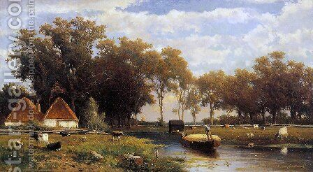 Summer landscape by Jan Hendrik Weissenbruch - Reproduction Oil Painting