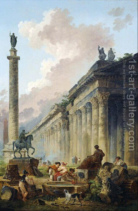Imaginary View of Rome with Equestrian Statue of Marcus Aurelius, the Column of Trajan and a Temple by Hubert Robert - Reproduction Oil Painting