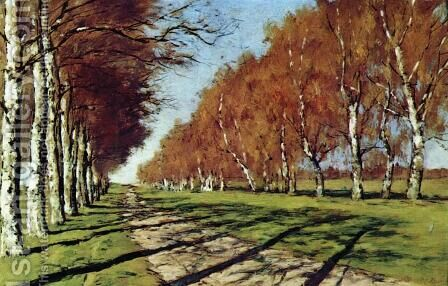 Big road. Sunny autumn day. by Isaak Ilyich Levitan - Reproduction Oil Painting