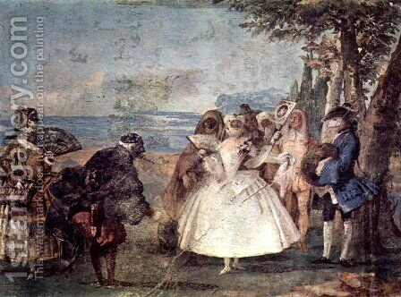 Minuet with Pantaloon and Colombine, from the Room of Carnival Scenes in the Foresteria by Giovanni Domenico Tiepolo - Reproduction Oil Painting