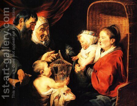 The Virgin and Child in the company of little St. John and his parents by Jacob Jordaens - Reproduction Oil Painting