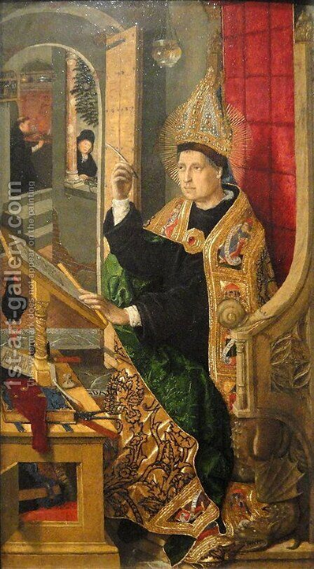 Saint Augustine by Bartolome Bermejo - Reproduction Oil Painting
