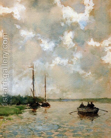 Rowing on the river by Jan Hendrik Weissenbruch - Reproduction Oil Painting