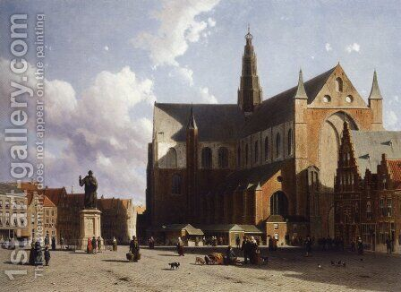 View on the market of Haarlem Sun by Jan Hendrik Weissenbruch - Reproduction Oil Painting