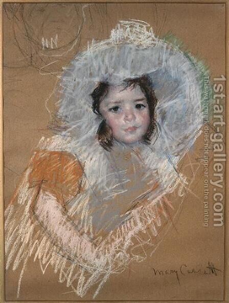 Margot Lux with a wide hat by Mary Cassatt - Reproduction Oil Painting