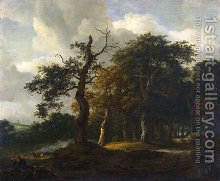 A Road through an Oak Wood by Jacob Van Ruisdael - Reproduction Oil Painting