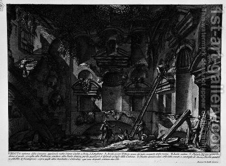 The Roman antiquities, t. 2, Plate LVI. Interior view of the burial chamber in the Vineyard Gate S. Casali Sebastiano. by Giovanni Battista Piranesi - Reproduction Oil Painting