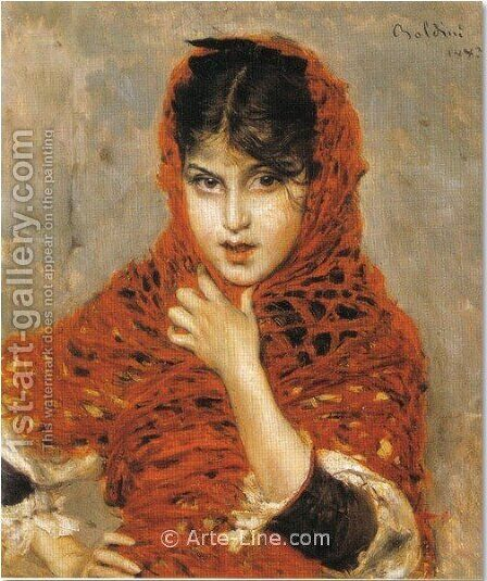 Girl with Red Shawl by Giovanni Boldini - Reproduction Oil Painting