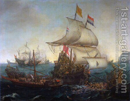 Dutch Ships Ramming Spanish Galleys off the Flemish Coast in October 1602 by Hendrick Cornelisz. Vroom - Reproduction Oil Painting