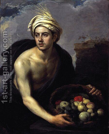 A Young Man with a Basket of Fruit by Bartolome Esteban Murillo - Reproduction Oil Painting