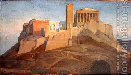 View of the Acropolis of Athens by Jean Auguste Dominique Ingres - Reproduction Oil Painting