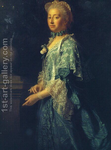 Portrait of Augusta of Saxe Gotha, Princess of Wales by Allan Ramsay - Reproduction Oil Painting