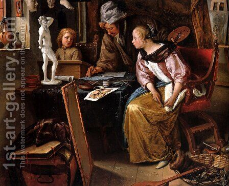 Drawing lesson by Jan Steen - Reproduction Oil Painting