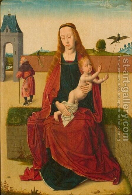 Madonna and Child on a grass bench by Dieric the Elder Bouts - Reproduction Oil Painting