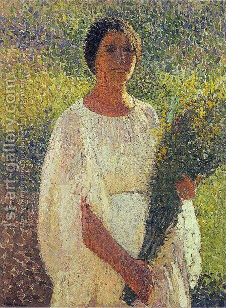 Girl with Flowers by Henri Martin - Reproduction Oil Painting