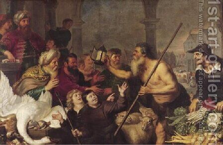 Diogenes searches for a man by Cornelis De Vos - Reproduction Oil Painting