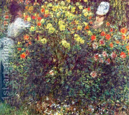 Girls in the Garden by Claude Oscar Monet - Reproduction Oil Painting