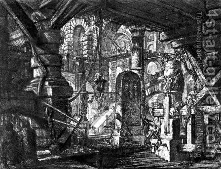 The Prisons (plate VI) by Giovanni Battista Piranesi - Reproduction Oil Painting