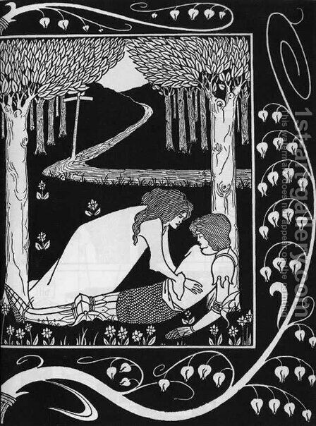 How Sir Launcelot was Known by Dame Elaine II by Aubrey Vincent Beardsley - Reproduction Oil Painting