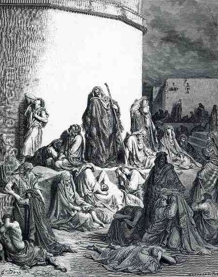 People Mourn over the Destruction of Jerusalem by Gustave Dore - Reproduction Oil Painting