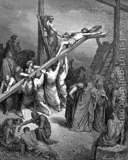 The Erection Of The Cross by Gustave Dore - Reproduction Oil Painting