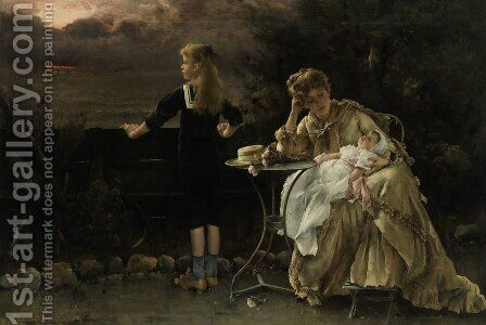 Mother and Children by Alfred Stevens - Reproduction Oil Painting