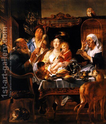 As the Old Sang, So the young Pipe by Jacob Jordaens - Reproduction Oil Painting