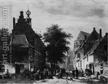 The Town Hall and Market at Naarden by Cornelis Springer - Reproduction Oil Painting