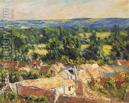 View on village of Giverny by Claude Oscar Monet - Reproduction Oil Painting