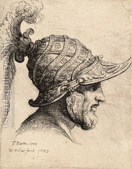 Helmet crossed with curved strips and rosettes by Girolamo Francesco Maria Mazzola (Parmigianino) - Reproduction Oil Painting