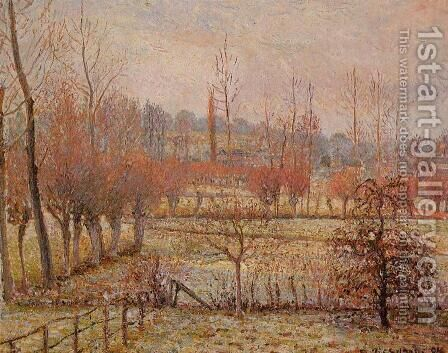 Snow Effect at Eragny by Camille Pissarro - Reproduction Oil Painting