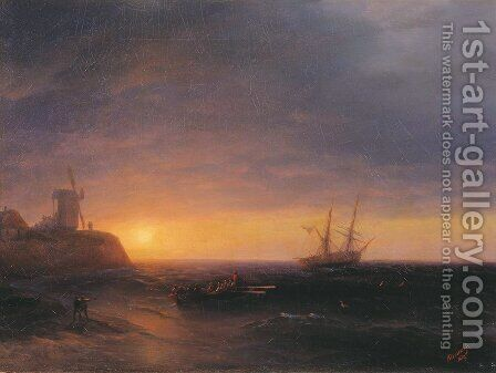 Sunset at Sea 3 by Ivan Konstantinovich Aivazovsky - Reproduction Oil Painting
