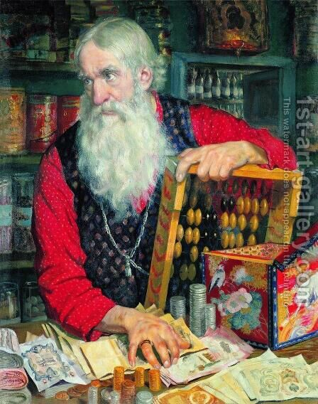 A Merchant by Boris Kustodiev - Reproduction Oil Painting